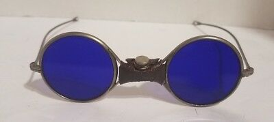 Vintage Rare Round Cobalt Blue Welding/Safety/Industrial Glasses/Goggle