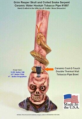 Grim Reaper Skull Serpent Ceramic Glass Rumph Water Hookah Tobacco Pipe 1897 USA