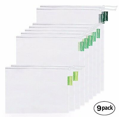 Earthwise Reusable Mesh Produce Bags - SEE-THROUGH - Set of 9 - ULTRA STRONG