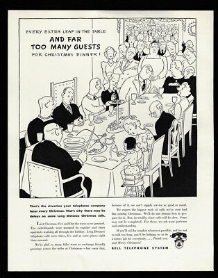 1942 Vintage Ad 40's BELL TELEPHONE SYSTEM christmas dinner guest illustration