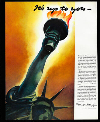 1942 Vintage Ad 40's DOUGLAS aircraft airplane statue of liberty war wwii art