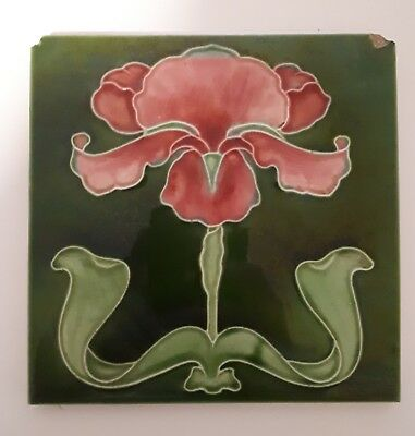 Art Nouveau Tile By J.H Barratt Made in England Iris Fireplace Antique Tile