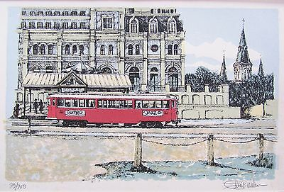 Gumbo Jazz Streetcar At Jax by Glen P. Weber Etching (Signed & Numbered) 23/200