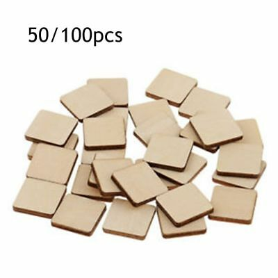 50/100 Pieces Rectangle Square Shapes Natural Wood Sign Plaque DIY Woodworkings
