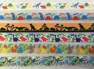 Dinosaur Grosgrain Ribbon all 4 designs are sold by 2M- Craft - Dummy clips