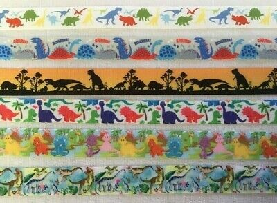Dinosaur Grosgrain Ribbon all 5 designs are sold by 2M- Craft - Dummy clips