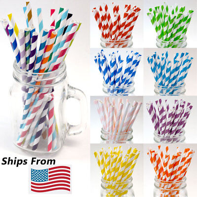 200/400/1000/5000 Paper Straws Bulk Packed 8 Stripe Colors Mixed - FDA Approved