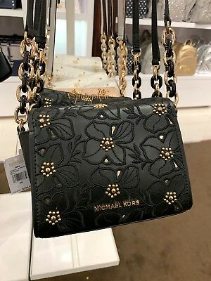 0fa551fcecfe Michael Kors Sofia Mini Crossbody Flower Stud Small Leather Bag XS Black