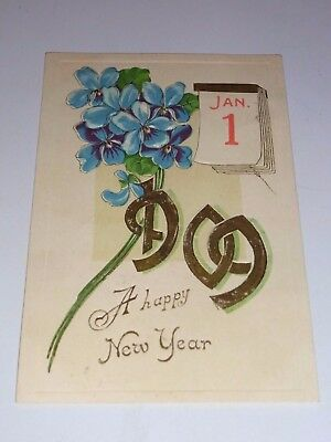 Vintage 1st Jan 1909 New Year Post Card with Cent Benjamin Franklin Stamp (1908)
