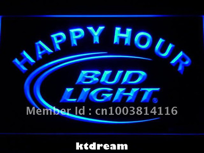 7 COLORS Bud Light Happy Hour Beer Bar LED Neon Light Sign Display Decor NEW