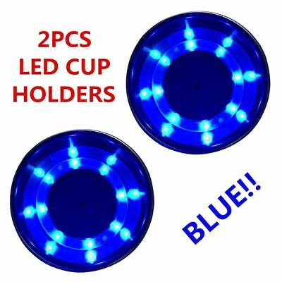 2X Boat Stainless Steel Cup Drink Holder Blue LED Built-in for Marine Truck RV
