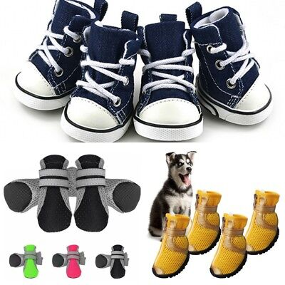USA 4Pcs Unisex Pet Cat Dog Protective Shoes Boot Puppy Boots Anti-Slip Sneakers