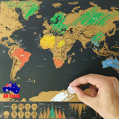 Kid Gift Large Scratch Off World Map Journal Poster Travel Vacation Log Decor LT