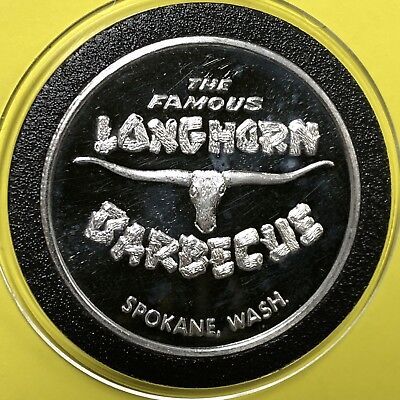The Famous Longhorn Barbecue Spokane Round Coin 1 Troy Oz .999 Pure Fine Silver