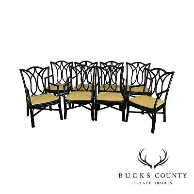 McGuire Style Set of 8 Black Rattan Bamboo Dining Chairs