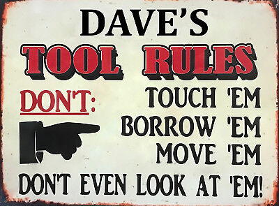 Vintage Retro Personalised Tools Rules Metal Sign Car Workshop Garage Shed