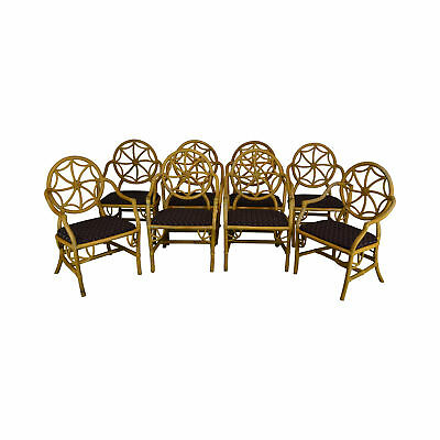 McGuire Style Set of 8 Vintage Rattan Bamboo Spider Back Dining Chairs (B)