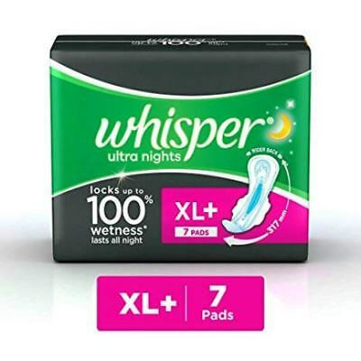 Whisper Ultra Nights Sanitary Pads (7 Count) XL Plus | Free Shipping