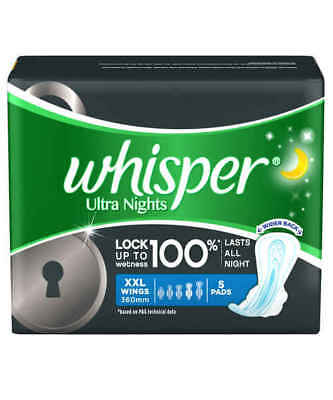 Whisper Ultra Nights Sanitary Pads (5 Count) XXL Plus | Free Shipping