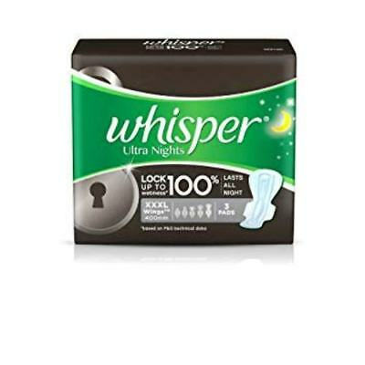 Whisper Ultra Nights Sanitary Pads (3 Count) XXXL | Free Shipping