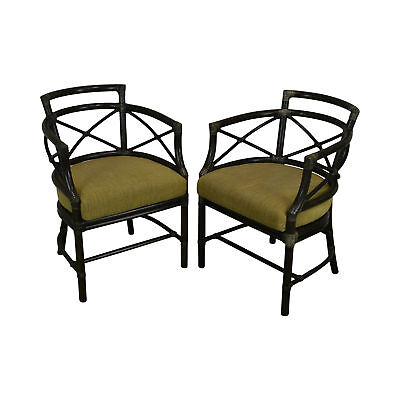 McGuire of San Francisco Pair Bamboo Rattan Curned Back Arm Chairs
