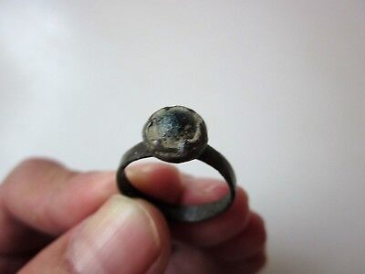 ancient Roman/Byzantine bronze ring,decorated with green stone/glass. VII-X A.D.