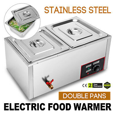 2-Pan Counter Top Warmer Bain-Marie Buffet Steam Table Food Warmer 2 Lids