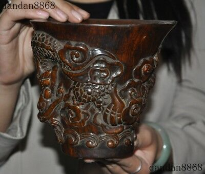 Old Chinese Ox horn Horns Hand carved Dragon Loong Phoenix Goblet Wineglass Cup
