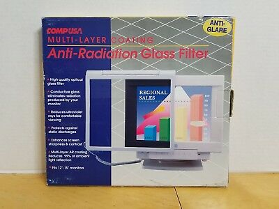 "CompUSA PC Anti-Radiation Computer Glass Screen Filter For 12"" - 15""  Monitor"