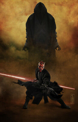 Star Wars Luke Skywalker facing off Kylo Original Art Print signed Scott Harben