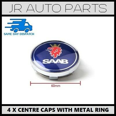 4 x BLUE 60mm SAAB ALLOY WHEEL CENTRE HUB CAPS FITS 9-3 9-5 900 93 95