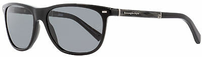 ff9e2eb6c41 Ermenegildo Zegna Rectangular Sunglasses EZ0009 01A Black Horn Gold 56mm 9