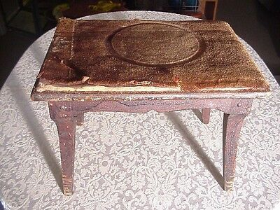 Antique Splayed Leg Footstool, Original Mohair Cover