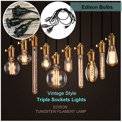 Edison Tungsten Filament Retro Antique E26 Light Bulb Triple Socket Lamp Pendant