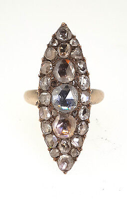 Large antique 18th Century Georgian Navette Almond Shape Rose Cut Diamond Ring