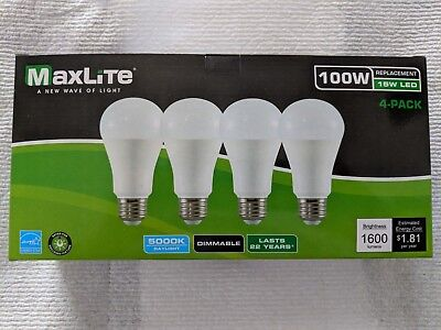 (4) LED Bulbs 15W Daylight 5000K A19 100W Replacement by Maxlite -Dimmable- NEW