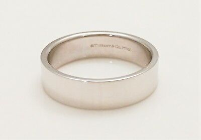 b4bffe73c TIFFANY & CO. Platinum 950 FLAT Mens Wedding Band 6mm Wide Ring Size 10