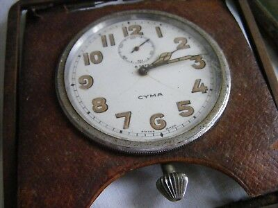 super vintage/antique CYMA 8 day travel clock-military style-non runner-restore