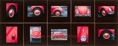 1960S Hippie Vw Beetle Car Parked On Detroit Street 35Mm Photo Slides Volkswagon