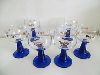 (Set of 6) VTG  Wine Glasses Roemer Cobalt Blue Beehive Stemmed France Grapes