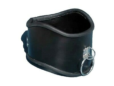 Black Faux LEATHER locking POSTURE COLLAR with ring CO-07-BLA, FREE UK DELIVERY