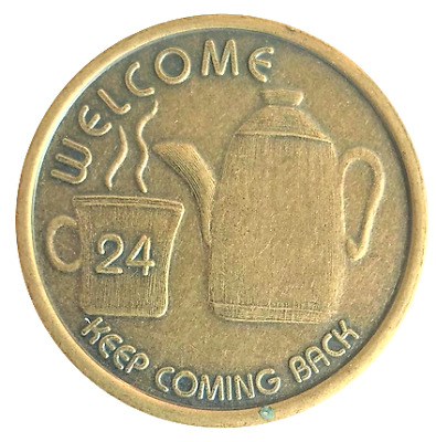 Coffee Pot Antique Bronze Alcoholics Anonymous AA coin recovery token chip