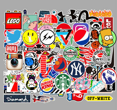 100 Mix Graffiti LOGO Vinyl Stickers Skateboard  PC Phone Guitar Hip hop Decals