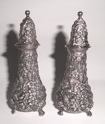 Vintage STIEFF ROse Repousse Sterling Salt & Pepper Footed Shaker Set  No Mono