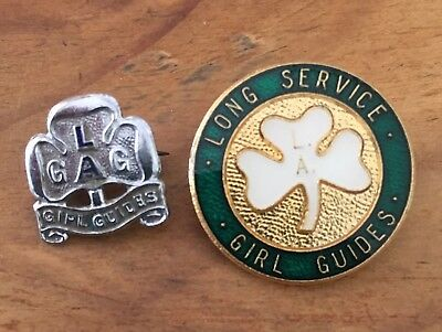 Vintage Girl Guides Local Area Badge And Long  Service Badge