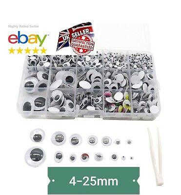 BOX 1120Pcs WOBBLY GOOGLY EYES. CRAFT'S PEEL OF STICKER'S TOP QUALITY UK SELLER