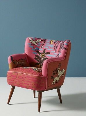 NEW Anthropologie pink orange multi Desert Animal Theme Appliqué Accent Chair