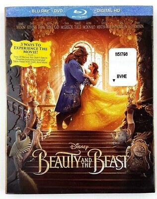 Disney Beauty and the Beast Blu-ray + DVD + Digital HD Movie, New Sealed w/Cover
