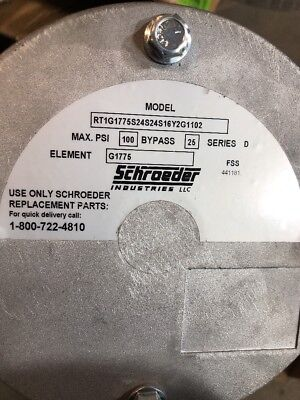 Sschroeder RT1G1775S24S24S16Y2G1102 IN-TANK FILTER 100 PSI 100 GPM