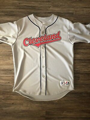 premium selection 0aa76 7d3f5 CLEVELAND INDIANS MAJESTIC Road Gray Jersey Grey MLB Baseball Large L